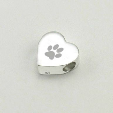 Personalised Paw Charm Bead, Stg Silver | Someone Remembered